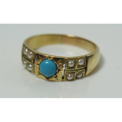 329 - An 18ct Turquoise and Seed Pearl Ring, size J.5, 3g...