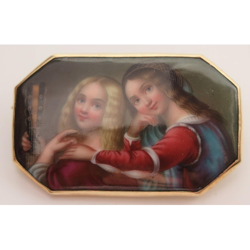 331 - A Continental Porcelain Miniature Brooch in gold setting, decorated with two young ladies with one h...