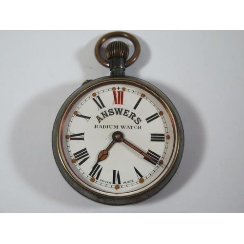 5370500ae 53 - An 'ANSWERS RADIUM WATCH' Swiss Made Keyless Open Dial Pocket Watch,