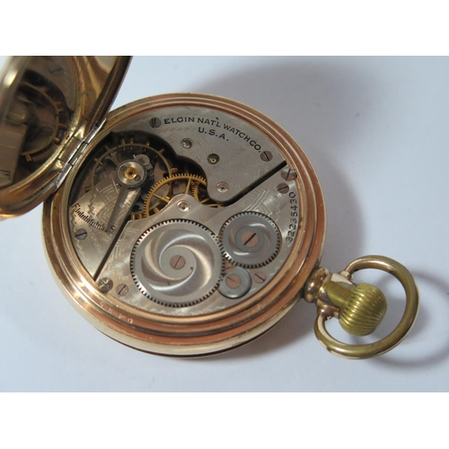 68 - An Elgin Gold Plated Full Hunter Pocket Watch, the 51mm enamelled dial with Roman numerals and subsi...