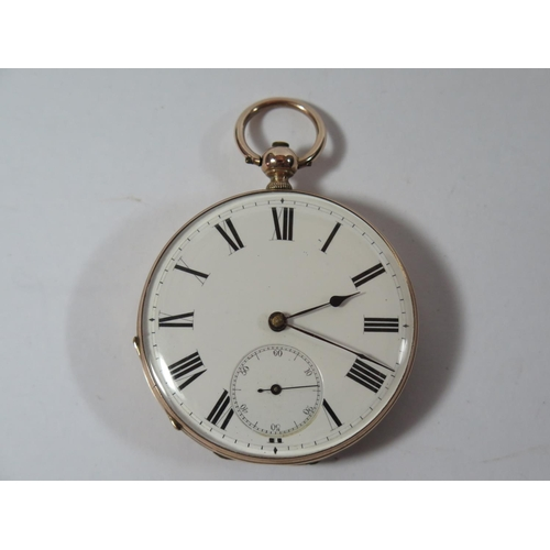 69 - A 14K Gold Keywound Open Dial Pocket Watch, the 47mm enamelled dial with Roman numerals and subsidia...