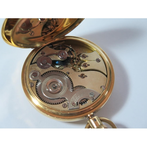 70 - An 18ct Gold Cased Half Hunter Keyless Pocket Watch with blue enamelled outer chapter ring, the enam...