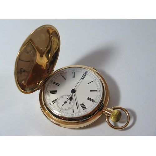 71 - An 18ct Gold Minute Repeater Stopwatch Full Hunter Pocket Watch, the 55m dial with Roman numerals an...
