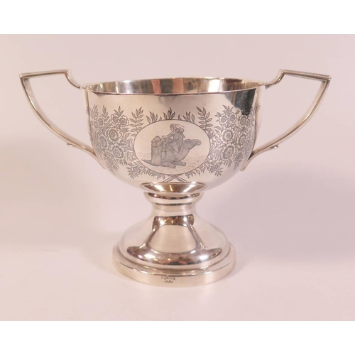 447 - A Niello Engraved Silver Two Handled Cup, floral decorated and with a camel and 'Rosemary'. 316g, 11...