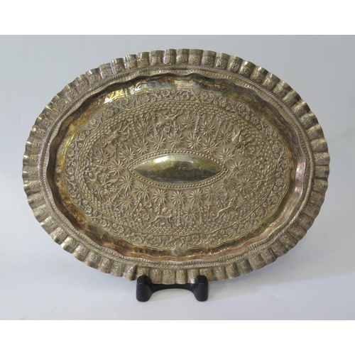 448 - An Indian Silver Tray with foliate and animal decoration, unmarked, 495g, 40 x 31cm...
