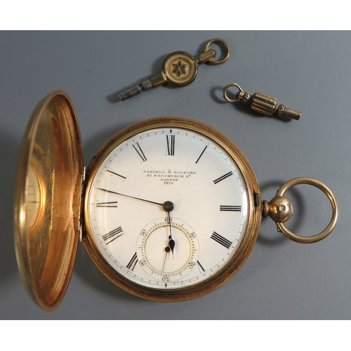 86 - A Victorian Wassell & Halford 18ct Gold Cased Full Hunter Keywound Pocket Watch with subsidiary seco...