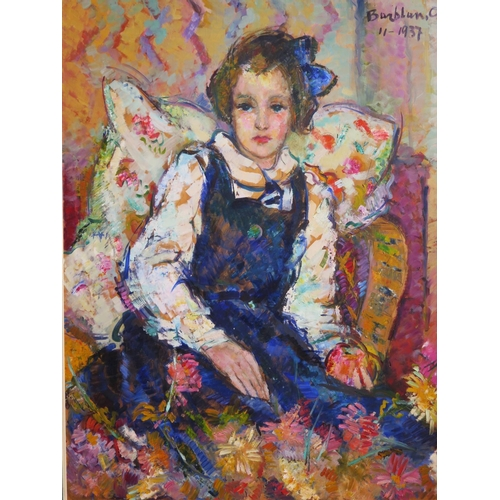 480 - Oscar Barblan (1909-1987) 11-1937, Portrait of Seated Girl, oil on panel, 98 x 78cm, framed...