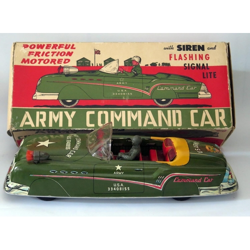 495 - Tin Plate Toy _ A Marx Electric Motored Army Command Car with driver and original box, manufactured ...