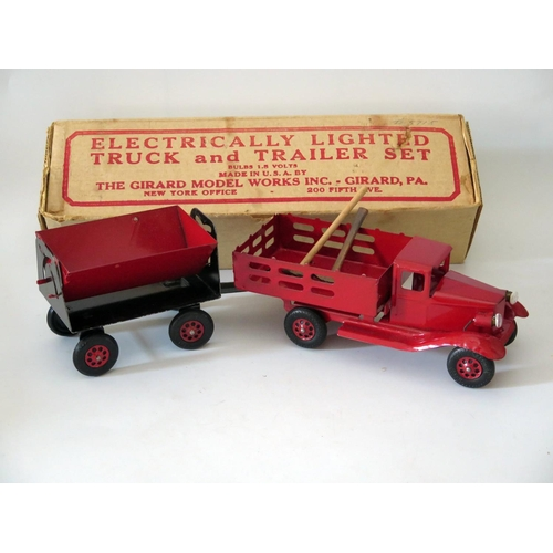 496 - Tin Plate Toy _ The Girard Model Works Inc. Tin Plate Electrically Lighted Truck and Trailer Set com...