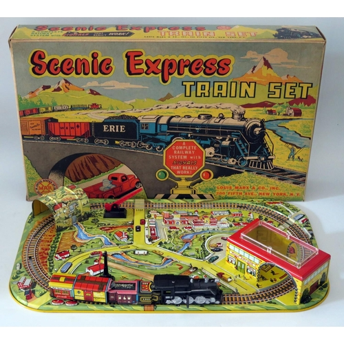 503 - Tin Plate Toy _ A Marx Scenic Express Mechanical Train Set. Manufactured in 1952 and complete with b...