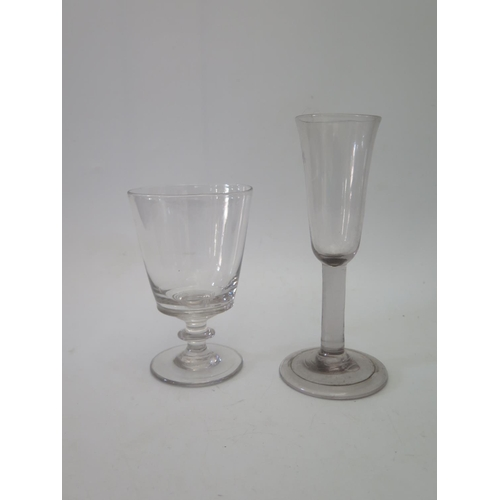 578a - An Eighteenth Century Glass with folded foot 18cm and one other...