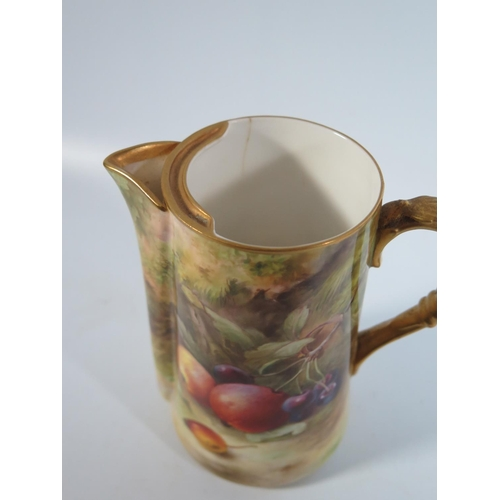 588 - A Royal Worcester Fruit Decorated Jug, signed F. Roberts, 15cm...