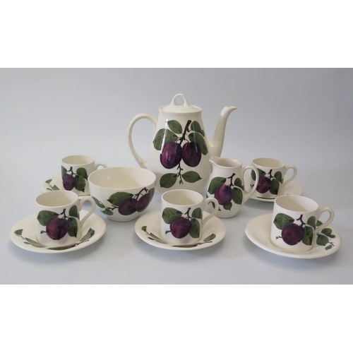 590 - A Plichta Wemyss Plum Decorated Part Coffee Set...