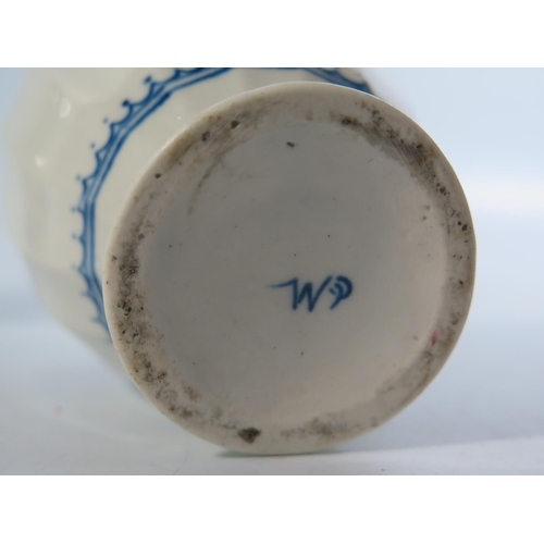 591a - A Pair of Early Dr. Wall Period Worcester Blue and White Hand Painted Porcelain Vases, molded with 1...