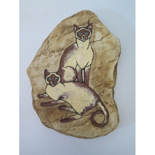 592 - A Wade Rock Plaque decorated with Burmese cats, 38 x 28cm. Never released as production....