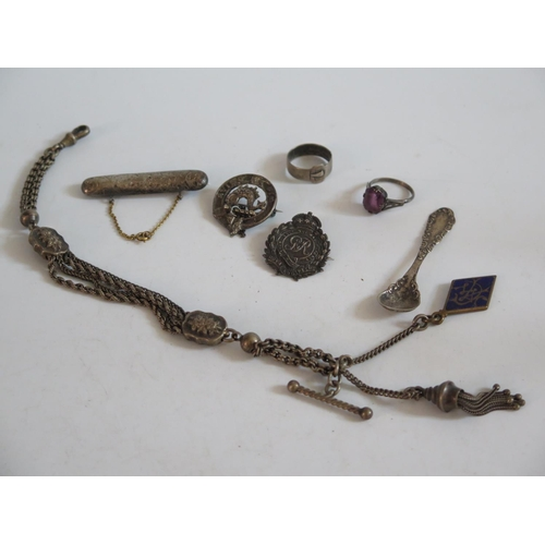 116 - 'AVISE LA FIN' Silver Brooch and other silver jewellery...