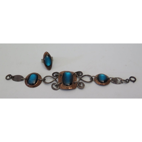 127 - A 1960's French Enamel on Copper Bracelet and ring...