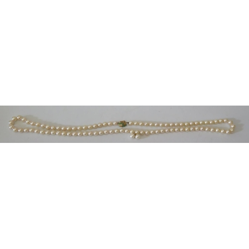 176 - A Cultured Pearl Necklace with 14k and emerald clasp...