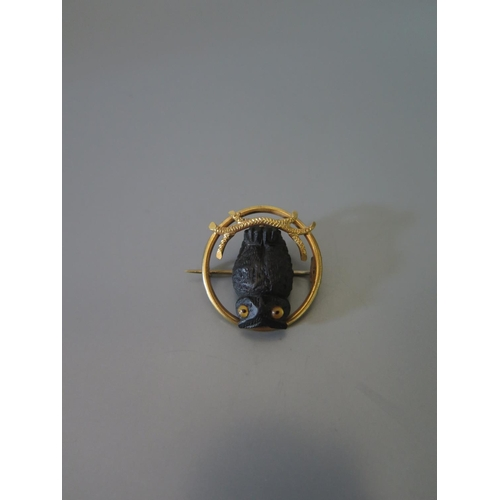 193 - A Carved Wooden and Glass Eyed Owl Brooch in a yellow metal setting, 5.5g...