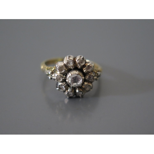 200b - An Antique Rose Cut Diamond Cluster Ring in a precious yellow and white metal mount, size K, 3.7g...