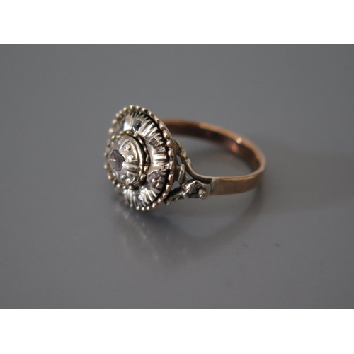 200e - A Rose Cut Diamond Ring in a precious rose metal setting, size N, 6g...
