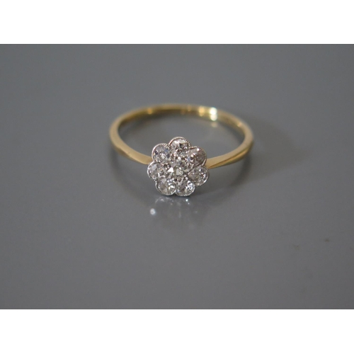 200H - A Diamond Cluster Ring in precious yellow metal setting, 2.1g...