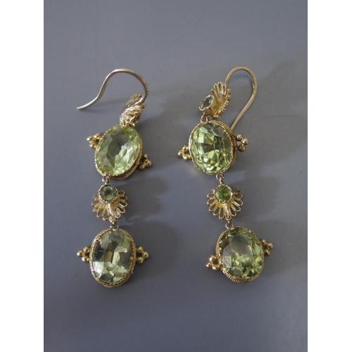 210d - A Pair of Peridot Pendant Earrings, c. 4cm drop, 5.7g...