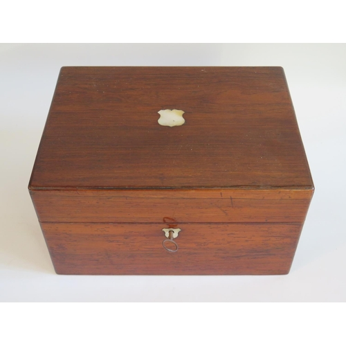 250 - A Victorian Rosewood Fitted Travelling Box with spring loaded slide to base...