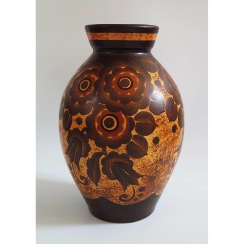 273 - A Keramis Floral Decorated Vase, impressed mark 1264 to base and underglaze D. 2793, 25cm...