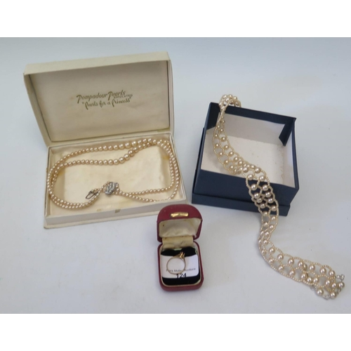 124 - A Cut 9ct Gold Ring, pearls etc...