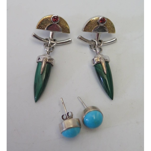 130 - A Pair of Silver and Malachite Dressing Earrings and one other pair...