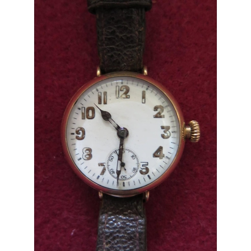 148 - A Dennison Cased Gold Plated Trench Watch, needs attention...