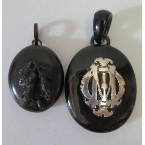 181 - Two Victorian Whitby Jet Pendants and oddments including micro mosaic...