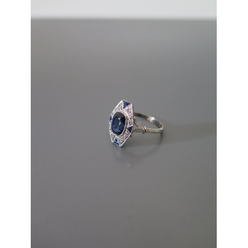184 - A French Art Deco Style Ceylon Sapphire and Diamond Ring, size L.5, 3.1g, 2.26ct diamond and ETD .15...
