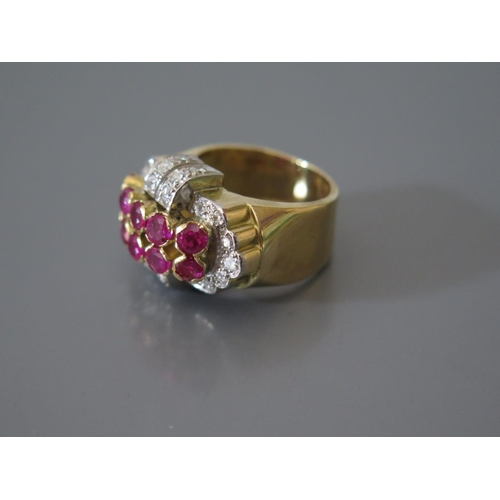200a - A Ruby and Diamond Ring in precious yellow metal mount, size N.5, 11.6g...