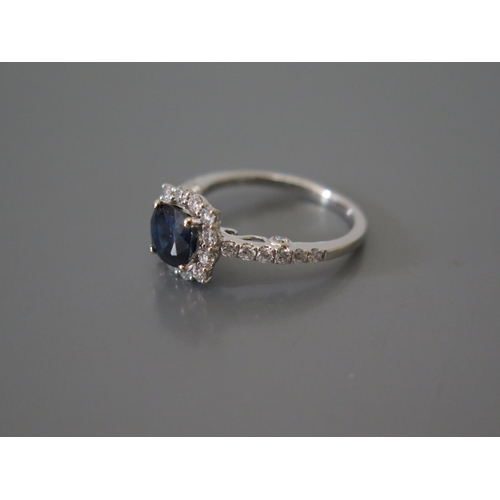 200f - An 18ct White Gold, Natural Sapphire and Diamond Engagement Ring, size M, 3.3g, sapphire 1.8ct ETD 1...