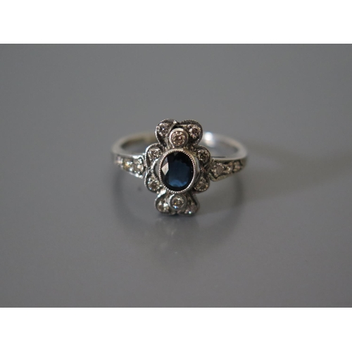 200I - A .750 White Gold, Sapphire and Diamond Ring, size M, 2.8g...
