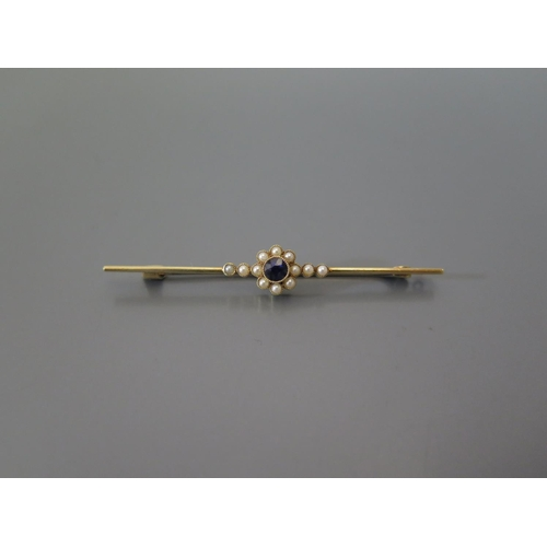 202 - A 15ct Gold, Sapphire and Seed Peal Bar Brooch, 3.9g...