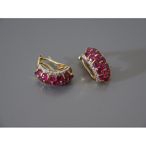 210a - A Pair of French 18ct Gold Ruby and Diamond Earrings, ETD .2ct, 9.3g...