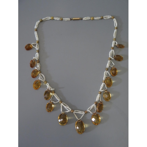 210b - A Citrine and Seed Pearl Necklace, 27.7g...