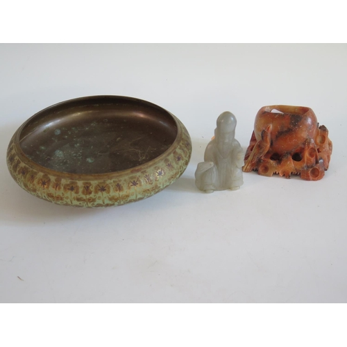 247 - A Carved Jade Model of a sage, soapstone carving and enamelled bronze bowl...