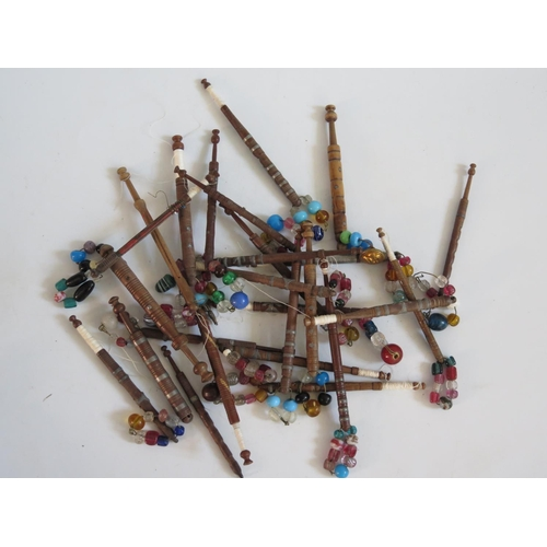 255 - A Large Collection of Nineteenth Century Turned Wooden Lace Maker's Bobbins with pewter inlay and gl...