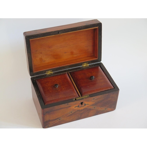 268 - A Victorian Walnut and Inlaid Twin Compartment Tea Caddy...