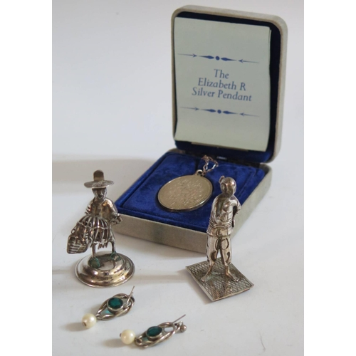 28 - Two Small Silver Figures, silver pendant and pair of earrings...