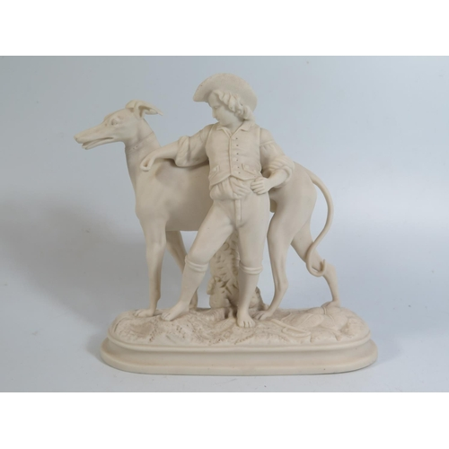 289 - A Nineteenth Century Copeland Parian Ware Boy with Greyhound, 19cm high...