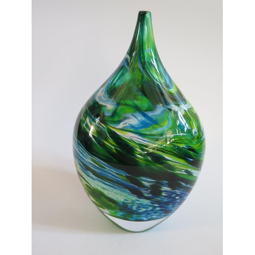 295 - A RICHARD GLASS 'BLUE GREEN MERGE BOTTLE', 28 cm TEIGN VALLEY ARTIST...