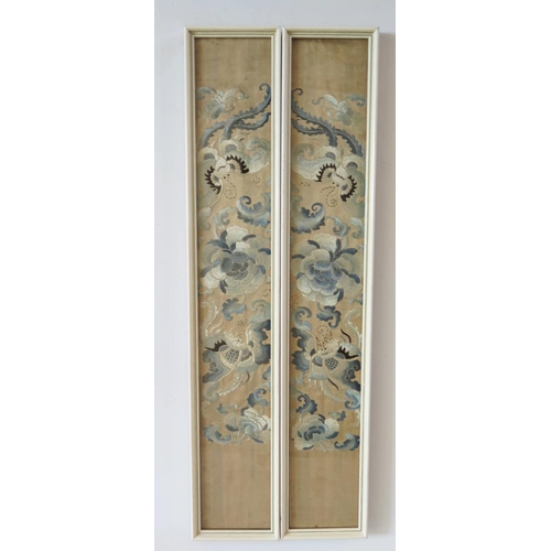 299 - A Pair of Chinese Silk Embroideries...