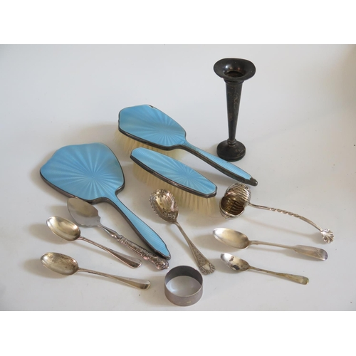 3 - Guilloché Enamel Backed Hand Mirror and brushes, silver and plated flatware...