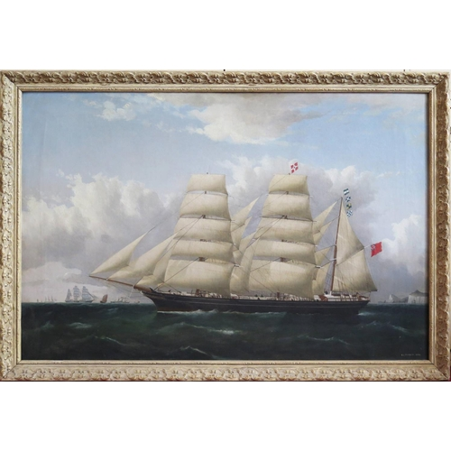 303 - Frederick J. Tudgay 1872 (1841-1921), Portrait of a Clipper flying Red Ensign and with paddle steame...