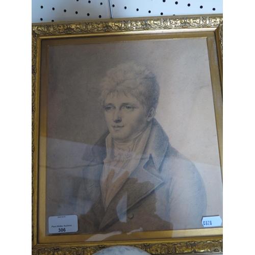 306 - A Pencil Portrait of William Wilbraham Capt. R.N. b. 1781 d. 1824...